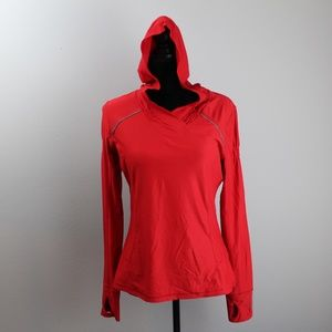 Athleta Red Long Sleeve Hooded Thermal Shirt
